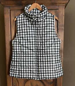 NWT TALBOTS Women's Size Large Black/White Full Zip Puffer Down Vest