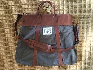 RRL DOUBLE RL Ralph Lauren Brown/Grey Pinstripe/Leather Messenger Bag NWT