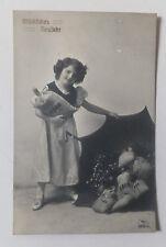 AK  Neujahrskarte Kind Mädchen mit Geldsäcken gel. 1914