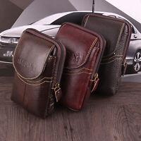 Men Vintage Genuine Leather Wallet Cowhide Phone Case Card Holder Zipper Belt