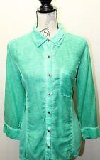 Style & Co. Women's Distress Green Long Sleeve Shirt Small Cotton