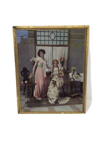 Antique Ullman Manufacturing Lithograph Color Photo Girls Reading 1900