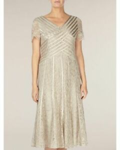 New Jacques Vert dress UK 14 22 Lace Beige/Champagne/Gold Banded rrp £199