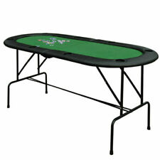 HOMCOM 1.83m Foldable Poker Table with Whip Trays & Drink Holders - Green/Black (B8-0002)