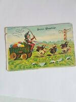Greeting Postcard Vintage Easter Greetings Gnome and Chicks