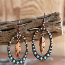 925 Silver Turquoise Ear Hook Dangle Drop Leaf Earrings Fashion Women Jewelry