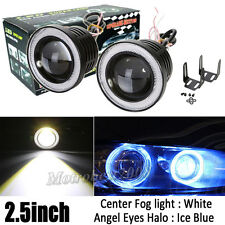 "2pcs 2.5"" inch LED Fog Lights with Ice Blue Angel Eyes Halo Ring Car Auto 12V"