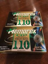 2 Vintage Memorex Cd2 High Bias 110 Minute Audio Cassette Tapes New