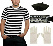 Adult French Mime Costume Accessory Black White Stripe T Shirt Braces Gloves Hat