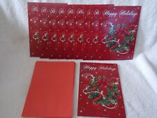 Set Of New 10 Happy Holidays Wreath Pictured Christmas Cards & Red Envelopes