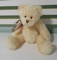 SOFT CUDDLES TEDDY BEAR CANDY YELLOW WITH BROWN BOW BEANS INSIDE 30CM
