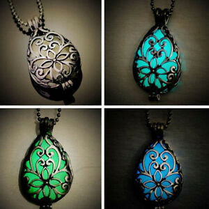 Unique Wishing Tear Drop Magical Glow in the Dark Steampunk Pendant Necklace FTM