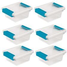 "Sterilite Storage Box 1969 Plastic 6.6x5x 2.7"" Blue Mini Clip Lat Aquarium 6 Pk"