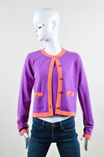 VINTAGE Chanel 95A Purple & Coral Cashmere Two Piece Sweater Set SZ 42