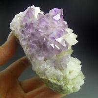 Recrystalized Amethyst Purple Quartz Crystal Cluster-qze0222