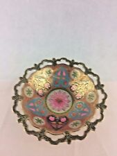 Handcrafted Metal Artistic Fruit Bowl  Brass w  Colorful Design Inside New