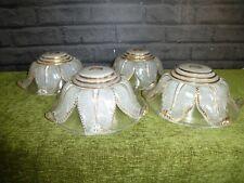 4 X FRENCH ART DECO EZAN STYLE GLASS SHADES