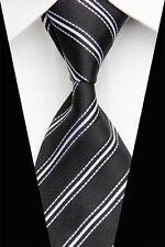 Negro Tejida a Mano 100% Puro Corbata De Seda con rayas blancas en diagonal