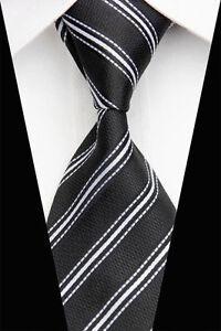 Black Hand Woven 100% Pure Silk Neck Tie with White  Diagonal Stripes
