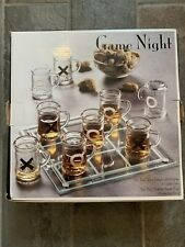 Game Night Tic Tac Toe Drinking Game with 9 Shot Glasses & Game Board Nib