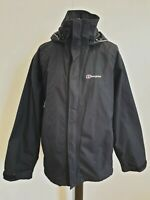 C243 WOMENS BERGHAUS AQUAFOIL BLACK LIGHTWEIGHT HOODED HIKING JACKET UK 14 EU 42