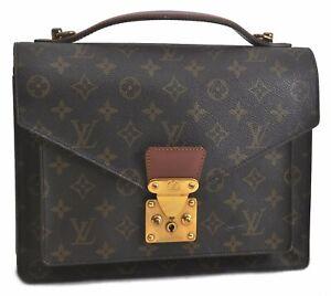 Authentic Louis Vuitton Monogram Monceau Hand Bag Briefcase M51185 LV B5966