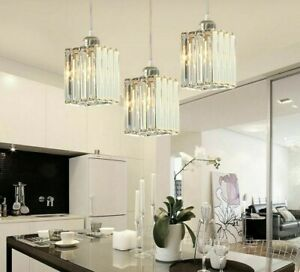 Vintage Crystal Pendant Lights Loft Cord Hanging Ceiling LED Modern Lamp Fixture