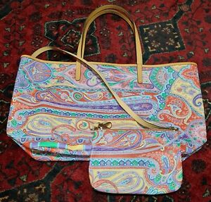 ETRO Milano Tote Shopper Bag Canvas & Leather   with Pouch Paisley Print