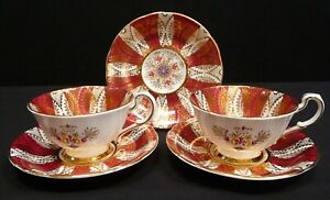 Paragon Red And Gold Fine Bone China Cups and Saucers