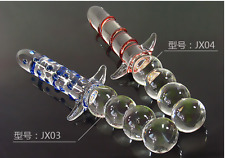 *** LARGE LONG DOUBLE ENDED GLASS_TOY DILDO_ANAL BUTT PLUG_BEADS WAND ***