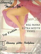 Big Mama Extra Width Panel Shimmy Glitter Pantyhose BLACK Fits Up to 300lbs