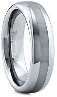 Men's 6mm Wide Tungsten Carbide Band Comfort Fit Ring Brushed Center - TCR014
