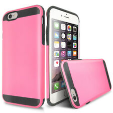 For Apple iPhone 6S/6 Pink Hybrid Shockproof Armor Card Slot Cover Phone Case