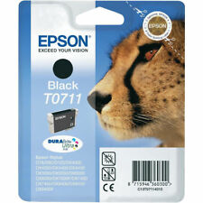 Genuine Epson T0711 GHEPARDO DURABRITE ULTRA BLACK INK Jet Cartuccia di stampa, TO711