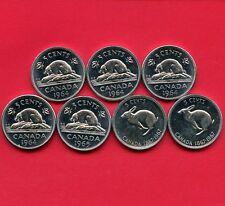 Canada 1964 X4 1965 & 1967 X2 5 Cent All High Grade Coins