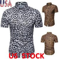Men Leopard Print T-shirt Short Sleeve Buttons Lapel Tops Summer Casual Blouse
