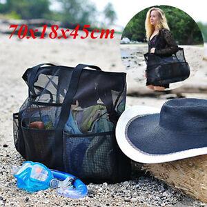 Women Summer Mesh Beach Tote Handbag Travel Wash Bag Outdoor Zipper Purse