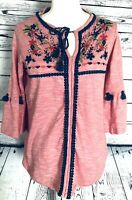 Oso Women's XS Blouse Tunic 3/4 Bell Sleeves Embroidery Beading V Neck Tassels