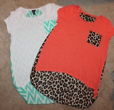 LOT OF 2 * RUE21 Jrs. Large HI-LO TOPS/SHIRTS (knit front w/ sheer back) EUC