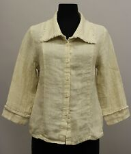FLAX SELECT LINEN TRIMMED COLLARED BUTTON JACKET CHAMPAGNE TWILL SMALL 7 - 10