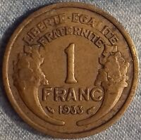 PIÈCE MONNAIE 1 FRANCS  BRONZE 1933     Ref : 00107