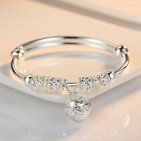 Fashion Women Jewelry 925 Sterling Silver Plated Cuff Charm Bangle Bracelet Gift
