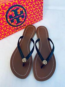 Tory Burch NIB Terra Thong Flat Sandals Black Veg Leather Gold Logo MANY SIZES