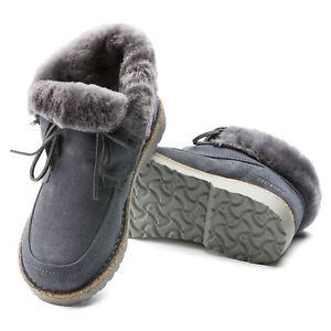Birkenstock Bakki Leder Stiefel gefüttert schmal graphite hydrophobic 1015403