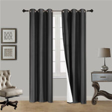 2PC Insulated Lined Foam Blackout Silver Grommets Window Curtain Panels N32