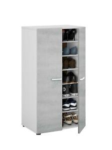 Armadio scarpiera a 2 ante e 7 ripiani mobile salvaspazio scarpe bianco cemento