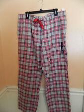 NWT Gap Body ladies gray & red plaid flannel sleep pants w/ribbon drawstring; M