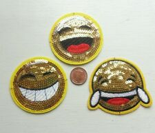 3 X EMOJI SEQUINED IRON ON PATCHES PATCH ~ FACE SMILE CRY ~ SEW EMBROIDER