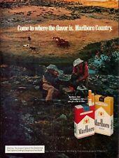 1972 Marlboro Cigarettes Country Smoking Cowboys Campfire Horses Photo Print Ad