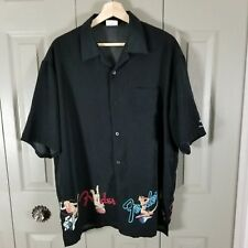 Hard Rock Cafe Mens Shirt Size L Black Fender Retro Pinup Short Sleeve